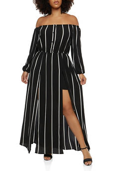 Plus Size Off the Shoulder Romper with Maxi Skirt Overlay - BLACK/WHITE - 1930069396903