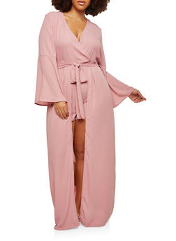 Plus Size Bell Sleeve Romper with Maxi Skirt Overlay - 1930069396905