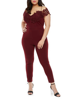 Plus Size Crochet Trim Off the Shoulder Jumpsuit - 1930069396915