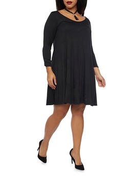 Plus Size Swing Dress with Choker Necklace - BLACK - 1930072241419