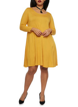 Plus Size Swing Dress with Choker Necklace - 1930072241419