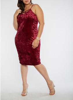 Plus Size Velvet Tank Dress with Caging - 1930072241656
