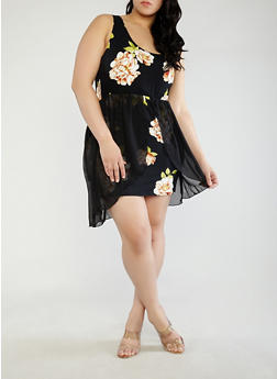 Plus Size Printed Dress with Chiffon Overlay - 1930072241794