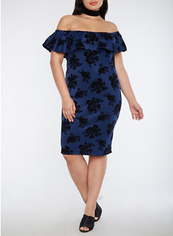Plus Size Velvet Off the Shoulder Floral Dress - 1930072242044
