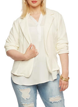 Plus Size Crepe Blazer with One Button and Ruched Sleeves - 1932020620375