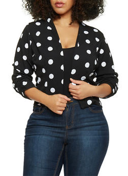 Plus Size 3/4 Sleeve Polka Dot Open Front Blazer - 1932020620456