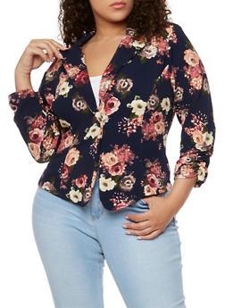 Plus Size Floral Crepe Knit Blazer - 1932020623371