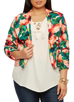 Plus Size Open Front Blazer with Floral Print - 1932020624681