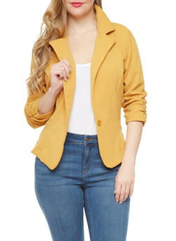 Plus Size One Button Blazer With Ruched Sleeves,MUSTARD,medium