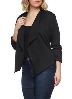 Plus Size Textured Knit Blazer with Ruched Sleeve Ends - BLACK - 1932020625668