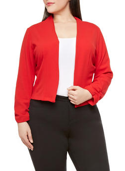 Plus Size Solid Textured Open-Front Blazer With Ruched Sleeves - RED - 1932020625894