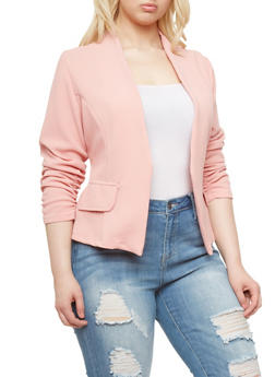 Plus Size Open Front Blazer With Ruched Sleeves,ROSE,medium