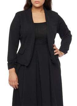 Plus Size Ruched Sleeve Crepe Open Blazer - BLACK - 1932020626688
