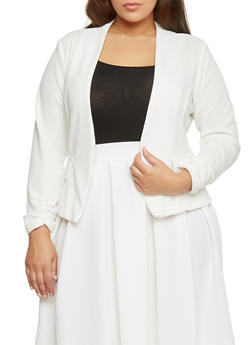 Plus Size Ruched Sleeve Crepe Open Blazer - 1932020626688