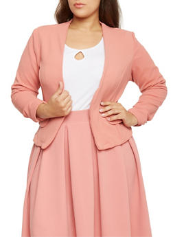 Plus Size Ruched Sleeve Crepe Open Blazer - PINK - 1932020626688