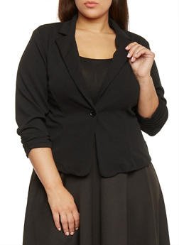 Plus Size Textured Knit Liverpool Blazer - BLACK - 1932020627037