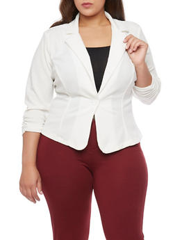 Plus Size Textured Knit Liverpool Blazer - IVORY - 1932020627037