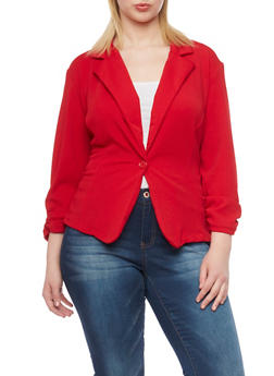Plus Size Textured Knit Liverpool Blazer - 1932020627037