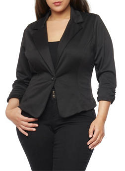 Plus Size Ponte Knit Blazer with Ruched Sleeves - BLACK - 1932020627373