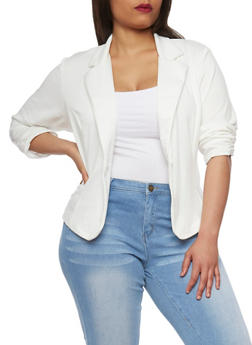 Plus Size Ponte Knit Blazer with Ruched Sleeves - IVORY - 1932020627373