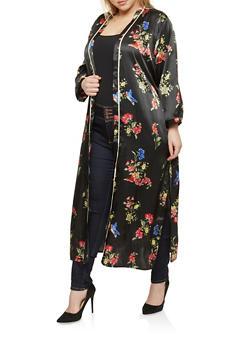 Plus Size Floral Print Satin Kimono - 1932054211058