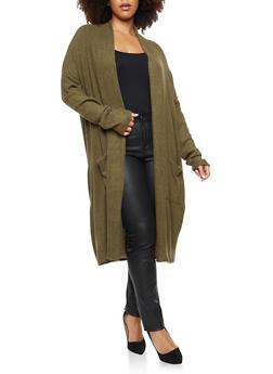 Plus Size Open Front Fleece Duster - 1932054214105