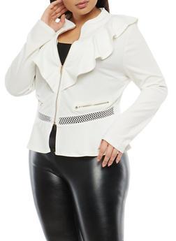 Plus Size Ruffle Zip Up Blazer - 1932062704019