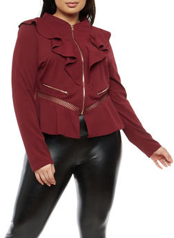Plus Size Ruffle Zip Up Blazer - 1932062704019