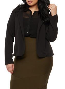 Plus Size Crepe Knit Blazer - 1932062704031
