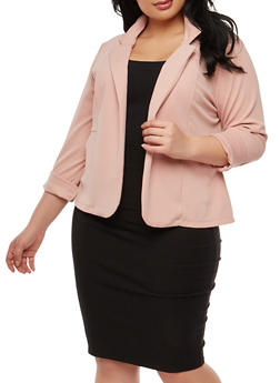 Plus Size Crepe Knit Blazer - 1932062704031