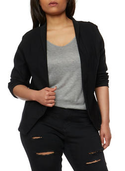 Plus Size Open Front Blazer - 1932062705493