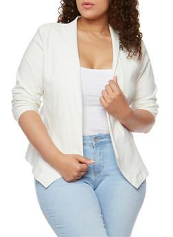Plus Size Open Front Blazer - OFF WHITE - 1932062705493