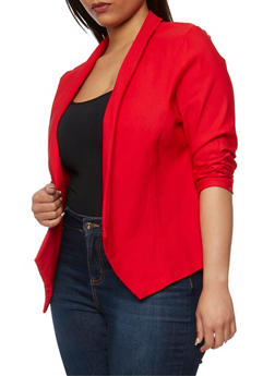 Plus Size Open Front Blazer - 1932062705493