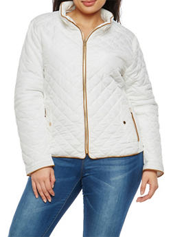 Plus Size Quilted Zip Jacket - 1932068198172
