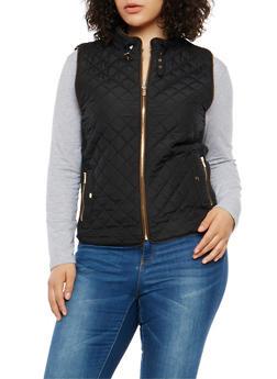 Plus Size Zip Up Quilted Vest - 1932068198174