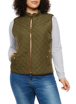 Plus Size Zip Up Quilted Vest - 1932068198174