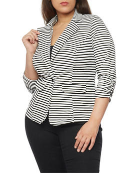 Plus Size Striped Knit Blazer with Ruched 3/4 Sleeves - 1932068513563