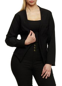 Plus Size Long Sleeve Open Front Blazer - BLACK - 1932068513585
