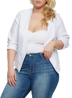 Plus Size Long Sleeve Open Front Blazer - 1932068513585