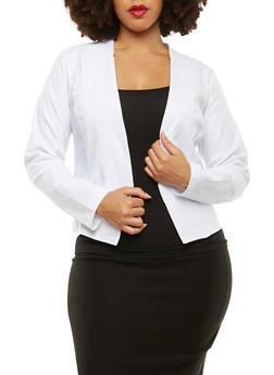 Plus Size Stretch Blazer - WHITE - 1932068513708