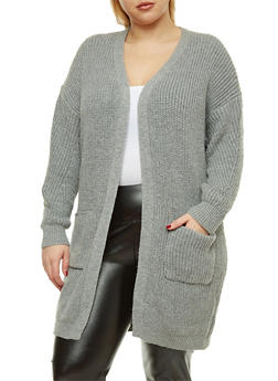 Plus Size Knit Duster - 1932069391480