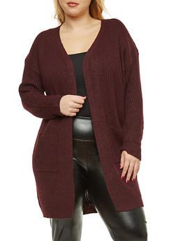 Plus Size Knit Duster - 1932069391480