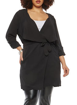 Plus Size Crepe Knit Tabbed Sleeve Duster - 1932069392016