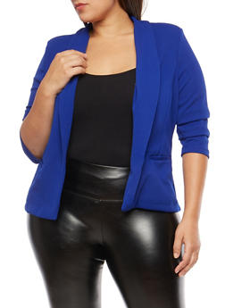 Plus Size Open Front Textured Knit Blazer - 1932069392141