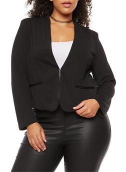 Plus Size Textured Knit Blazer - 1932069392472