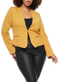 Plus Size Textured Knit Blazer - 1932069392472