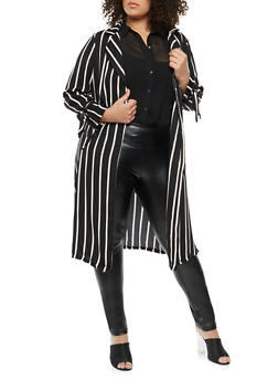 Plus Size Striped Tie Sleeve Duster - 1932069392546