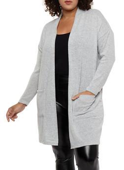 Plus Size Soft Knit Drape Front Duster - 1932069392550