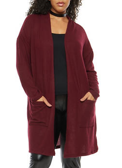 Plus Size Soft Knit Drape Front Duster - 1932069392550