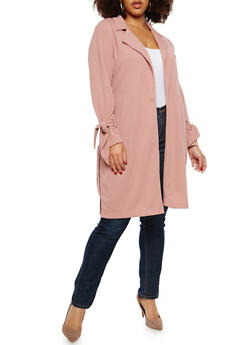 Plus Size Texture Knit Collared Duster - 1932069392563